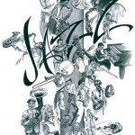 """Jazz,"" monochrome black watercolor 1988"