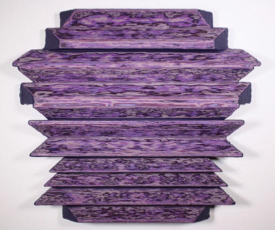 Ryan Carr Johnson, Vector-Vice-Versa, 2013, layered paint, light, shadow on wood, 18x21in