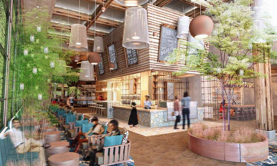 Five of the concepts will share common dining space, while two others will be enclosed. (Rendering: Streetsense)